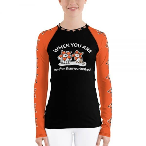 Women's When You Are More Fun Than Your Husband Black Active Long Sleeve