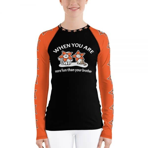 Women's When You Are More Fun Than Your Brother Black Active Long Sleeve