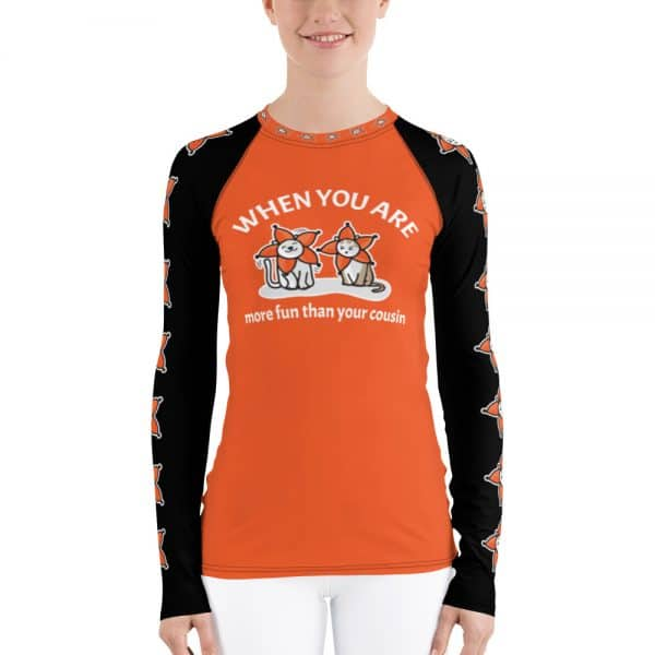 Women's When You Are More Fun Than Your Cousin Orange Active Long Sleeve