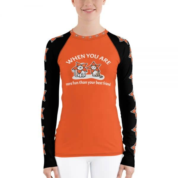 Women's When You Are More Fun Than Your Best Friend Orange Active Long Sleeve
